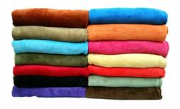 Coral Fleece Throw Blanket Soft Elegant 14 Solid Colors King