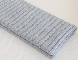 CLEARANCE! 100% All Cotton Knit Throw for Sofa Classic Cable