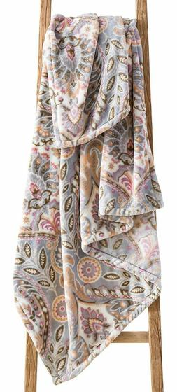 Country Chic Decorative Throw Blanket: Soft Plush Floral Pai