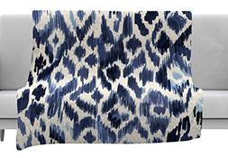KESS InHouse Crystal Walen Leopard Tribal-Indigo Watercolor