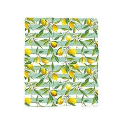 VROSELV Custom Blanket Nature Blooming Lemon Tree on Striped