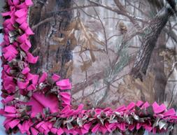 CUSTOM FLEECE TIE-BLANKET Realtree Camouflage Hot Pink 60X72