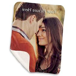 NIWAHO Custom Photo Sherpa Blanket with Your Own Printing, D