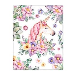 QH Cute Unicorn and Flower Print Super Soft Throw Blanket fo