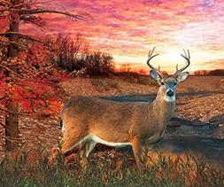 "Deer in Autumn Setting Fleece Throw Blanket 50"" x 60"" Soft B"