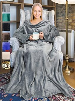 Terrania Wearable Fleece Blanket with Sleeves and Pocket for