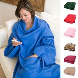 Napa Deluxe Polar Fleece Home Robe Cloak Towel Blanket W/ Sl
