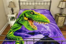 "Dinosaur Plush Fleece Blanket Throw Full/Queen 75"" x 90"" Sup"