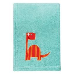 Trend Lab Dinosaur Roar Plush Baby Blanket, Green, Orange