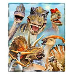 Dawhud Direct Dinosaur Selfie Super Soft Plush Fleece Throw