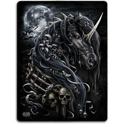 Spiral Direct DARK UNICORN Fleece Blanket Bedding/Gift/Tatto