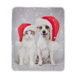 ColourLife Dog And Cat In Christmas Hat Soft Throw Cozy Warm