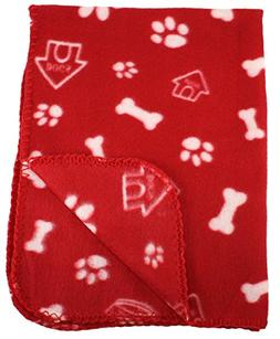 30x21 Inch Dog / Cat Fleece Blanket - Bone and Paw Print Ass