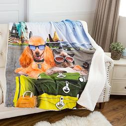 Bedsure Printed Pets Pattern Throw Blanket Cute Sherpa Kids