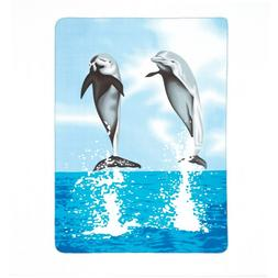 Gifts & Decor Dolphin Print Fleece Blanket Turquoise Blue So