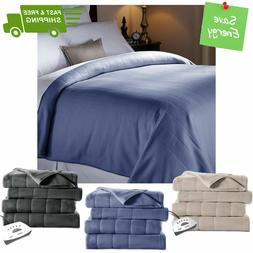 electric heated fleece channeled warming blanket twin