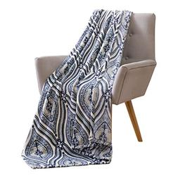 Elegant Damask Velvet Fleece Throw Blanket: Soft Plush Teard