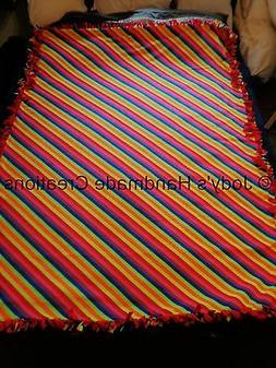 "EX- LONG /LARGE HANDMADE FLEECE TIED THROW / BLANKET 57"" X 7"