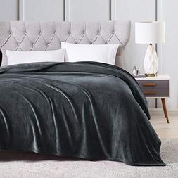 EXQ Home King Size Charcoal Grey Fleece Blanket Cozy Microfi