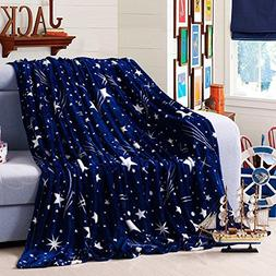 FAVOLOOK Extra Soft Plush Blanket, Large Starry Fleece Blank