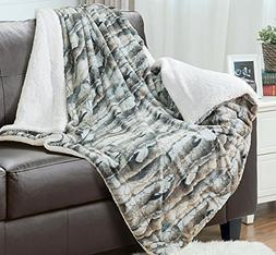 Faux Fur Sherpa Throw Blanket 60x80 Rustic Bark Color Home D