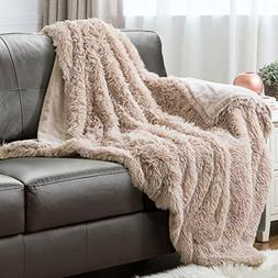 "Faux Fur Throw Blanket PV Fleece Bed Throws 60""x80"" Shaggy C"