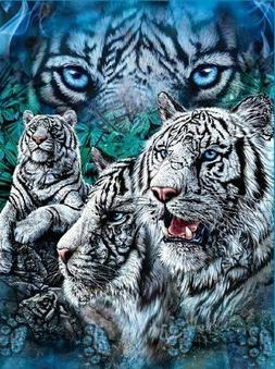 find white tigers tiger fleece blanket throw