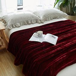 Paukin Flannel Fleece Bedding Blanket Solid Plush Couch Thro