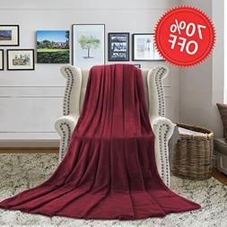 H.VERSAILTEX Burgundy Blanket Throw Velvet Plush Ultra Soft