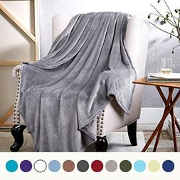 Bedsure Flannel Fleece Luxury Blanket Grey Throw Lightweight