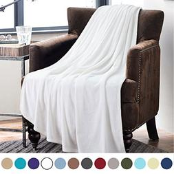 Bedsure Flannel Fleece Luxury Blanket White Twin Size Lightw
