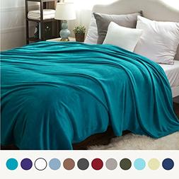 Bedsure Flannel Fleece Luxury Blanket Teal Throw Lightweight