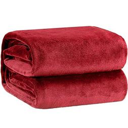 Bedsure Flannel Fleece Luxury Blanket Burgundy King Size Lig