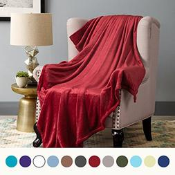 Bedsure Flannel Fleece Luxury Blanket Burgundy Throw Lightwe