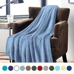 Bedsure Flannel Fleece Luxury Blanket Washed Blue Twin Size