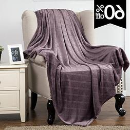 Fleece Throw Blanket Plum Embossed Plaid Pattern 60x80 Twin