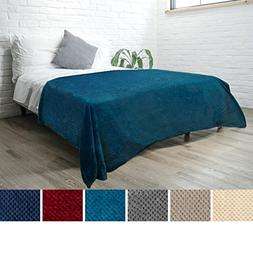 PAVILIA Premium Flannel Fleece Sea Blue Bed Throw Blanket Fo