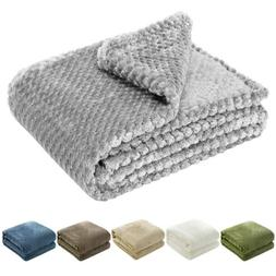 Flannel Fleece Throw Blanket Soft Faux Fur for Sofa Bed Couc