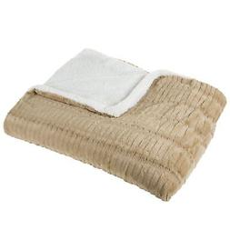 Lavish Home Fleece and Sherpa Blanket - Full/Queen - Taupe