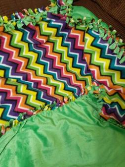 Fleece Baby Blanket Tied Homemade Double-Sided Green & Rain