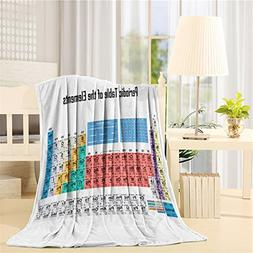 Fleece Blanket,Updated 2018 Periodic Table of Elements, Supe