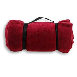 Pembrook Fleece Travel Blanket w/Handle - Dark Red - Super S