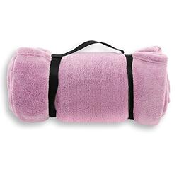 Pembrook Fleece Travel Blanket w/Handle - Pink - Super Soft