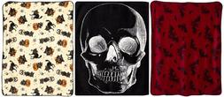 Sourpuss Fleece Blanket-Skull Bats Black Cats-Gothic Hallowe