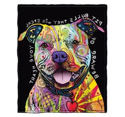 Fleece Blanket Throw Dog Pit Bull Cat Super Soft Full / Quee
