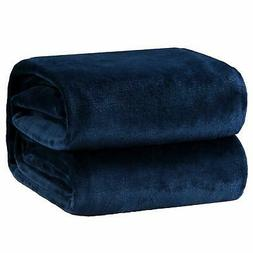Fleece Blanket Throw Size Navy Lightweight Super Soft Cozy L