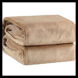"Fleece Blanket Twin Size Camel Lightweight Throw Super 60""X8"