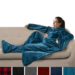 Snuggie Fleece Wearable Blanket With Sleeves and Foot Pocket