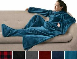 Pavilia Fleece Blanket With Sleeves And Foot Pockets For  Wo