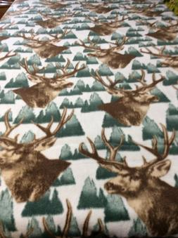 Fleece Knotted Tied Blanket - Brown Stag-Hunting-Camping - T